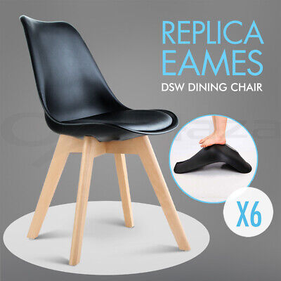 6 x Padded Retro Replica Eames Eiffel DSW Dining Chairs Cafe Kitchen Black