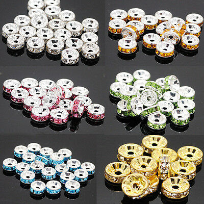 Lots 50/100Pcs Silver Plated Crystal Rhinestone Loose Spacer Beads Rondelle 6mm