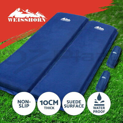 WEISSHORN Double Self inflating Mattress Mat Sleeping Pad Air Bed Camping Suede