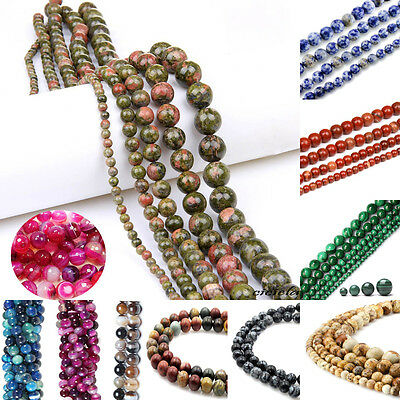 New Round Natural Gemstone Jewellery Findings Loose Spacer Beads 4/6/8/10/12mm