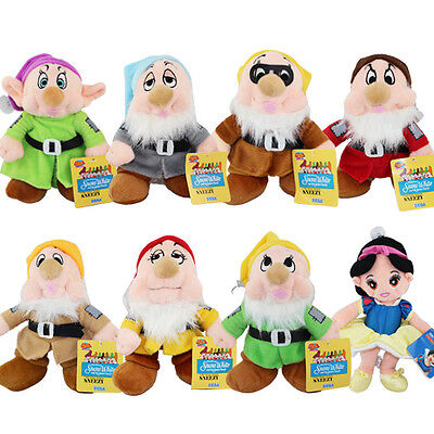 "8x Cartoon Snow White and the seven Dwarfs 27cm / 10.8"" Plush Doll Toy"