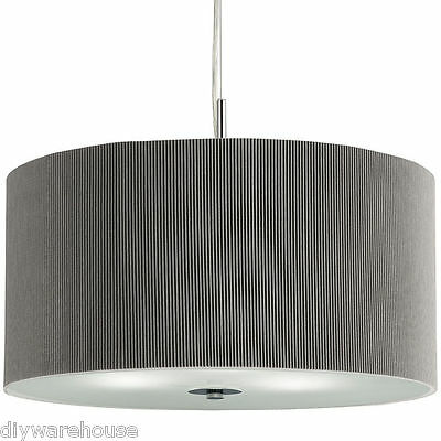 Searchlight 2353-40Si 3 Light Silver Drum Pleat Pendant With Glass Diffuser. New