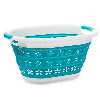 New 2 Section Folding Collapsible Laundry Dark Light Washing Clothes Bin Basket