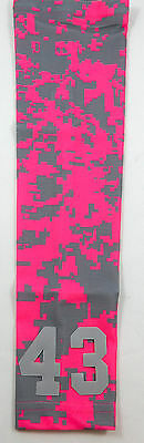 PICK YOUR NUMBER Baseball Gift YOUTH MEDIUM Sports Arm Sleeve CAMO HOT PINK GRAY
