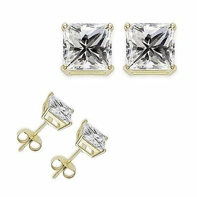 4 Ct 8 MM Princess White CZ 925 Sterling Silver Yellow Gold Plated Stud Earrings