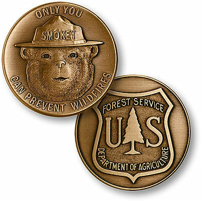 Smokey the Bear US Forest Service antique bronze medallion coin