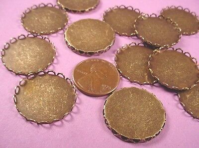 Brass Ox Round Lace Edge Bezel Cups 22mm - 8 Pieces
