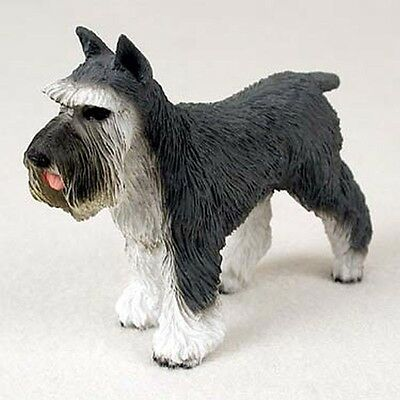SCHNAUZER Grey Cropped Dog Hand Painted Canine Collectable Figurine Statue