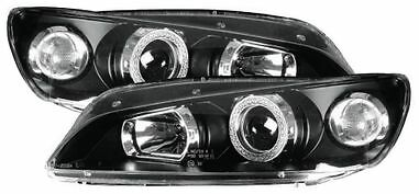 Peugeot 306 (1996-2001) Black Halo Angel Eye Projector Front Headlights - Pair