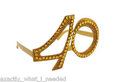 Gold 40th Birthday Novelty Fun Party Clear Sunglasses Diamante Bling Age Glasses