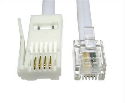 20m RJ11 to BT Socket Cable Lead Modem FAX Telephone Phone Plug 4 Pin Straight