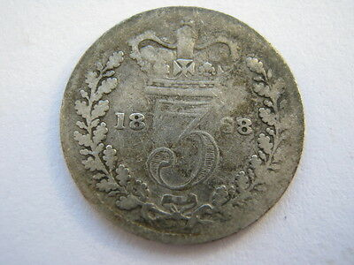 1868 Young Head silver Threepence, Fair.