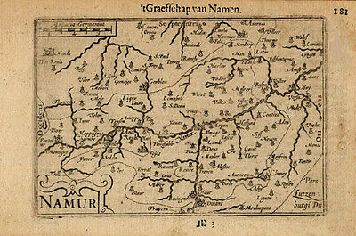 Antique Map-NAMEN-NAMUR-BELGIUM-Bertius-Hondius-1608