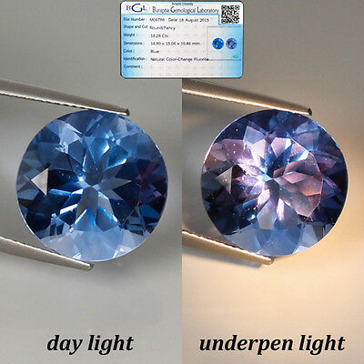 (BGL - CERTIFIED) 14.24 Ct NATURAL RARE COLOR CHANGE FLUORITE ROUND GEM @SEE VDO