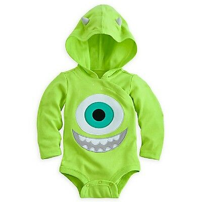 Disney Store Monsters Inc Mike Wazowski Hooded Cuddly Bodysuit For Baby Adorable