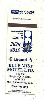 Blue Mist Motel Ltd. Badgers Quay NL Matchcover 091515