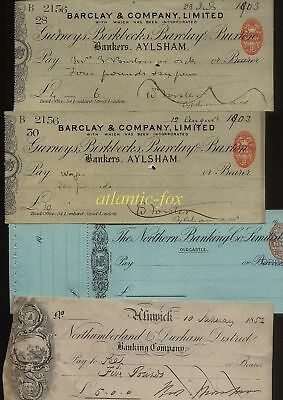 1852 & 1903 Banking Cheques Collection, Aylsham, Alnwick & Oldcastle, Used & U/c