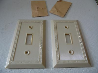 Vtg. Two Ivory Color Single Switch Plate Cover w/ Diamond Design Border • CAD $12.52