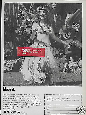 Qantas Airways Move It Get Down To Business Hula Girl 1967 Ad