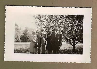 1940's Black & White Photo 2 Couples in Front of Apple Tree 5 1/4 x 3 1/2 Inches