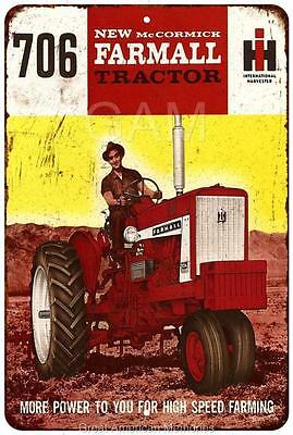 McCormick Farmall Tractor 706 Vintage Look Reproduction 8x12 Metal Sign 8121354