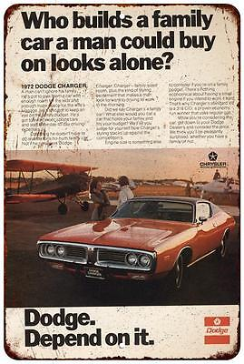 1972 Dodge Charger Vintage Look Reproduction 8 x 12 Metal Sign 8120540