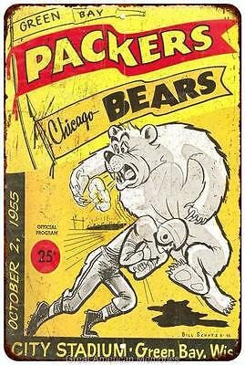 1955 Green Bay Packers vs  Chicago Bears Vintage Reproduction Sign 8x12 8120197