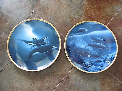 LOT OF 2 GREAT MAMMALS OF THE SEA by Wyland The Hamilton DOLPHIN ORCA Plate
