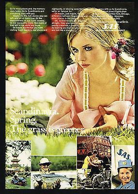 1969 SAS Scandinavia Airlines Pretty Woman Stewardess Vintage Photo Print Ad