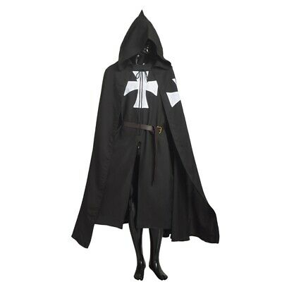 Medieval Tunic Cloak Cape Belt Knights Hospitaller Gothic LARP Cosplay Costume