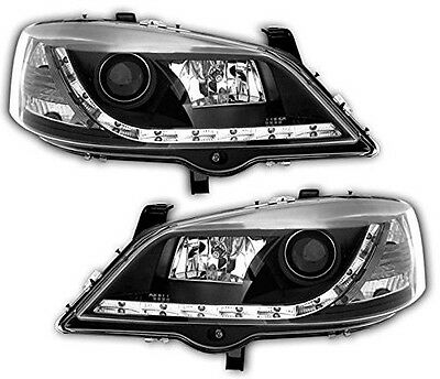Vauxhall Astra G (98-04) Black DRL Devil Angel Eyes Front Headlights Lights PAIR