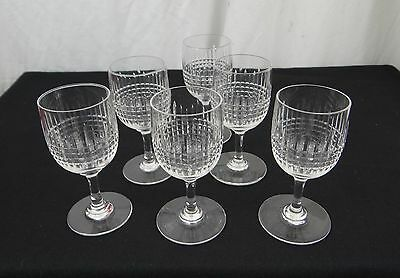 """6 ANTIQUES SHERRY GLASSES CRYSTAL BACCARAT PATTERN NANCY-1920s'- height 4""""3/8"""