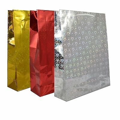 3 Assorted Large Holographic Decorative Paper Gift Bag Christmas Birthday
