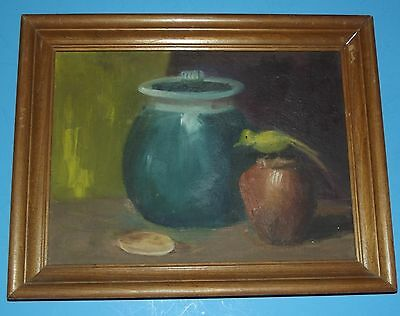 """Wall Hanging Art  Picture of Vases with Bird in Wood Frame hand painted 11""""x14"""""""