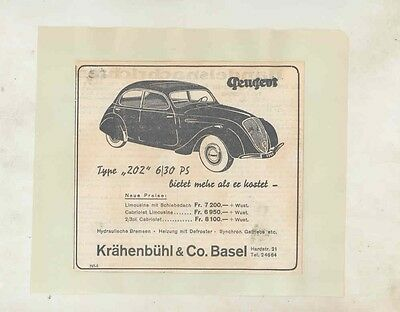 1948 Peugeot 202 Newspaper Ad Switzerland wv3215