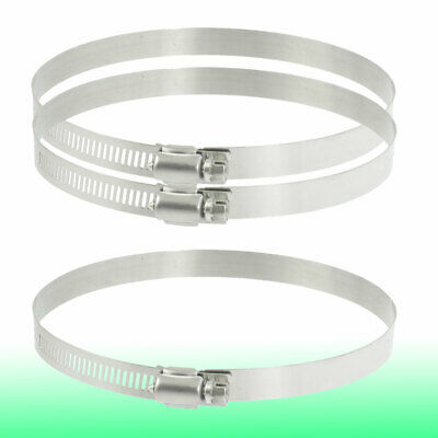 3 Pcs 118mm-140mm Adjustable Stainless Steel Worm Drive Hose Clamps