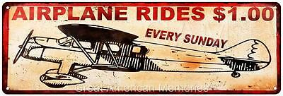 Airplane Rides $1.00 Vintage Look Reproduction 6x18 Metal Sign 6180020