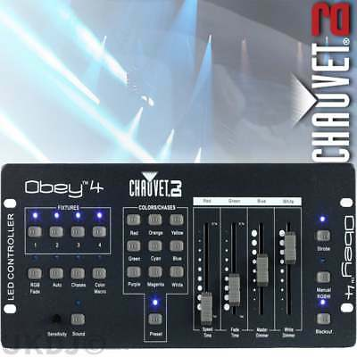 Chauvet Obey 4 Channel Compact DMX RGBW/A Controller Fade Speed Strobe & Dimmer