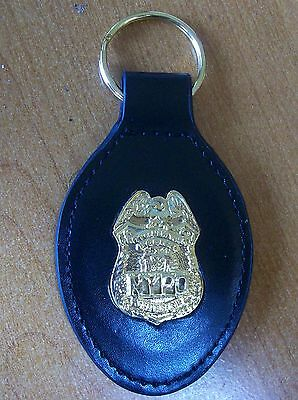 NYC Police Leather Key Ring NYPD Sergeant Badge Gold Color Novelty Collectors