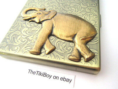 Big Brass Elephant Steampunk Cigarette Case Oversized Business Card