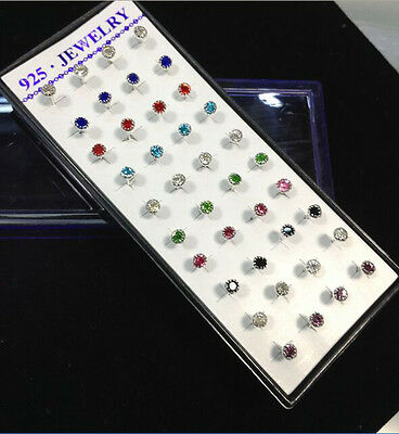 925 Silver 40PCS Fashion Women Sunflower Crystal Rhinestone Ear Stud Earrings