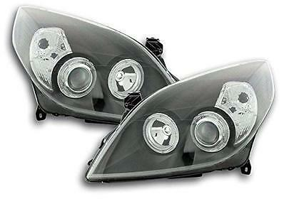 Vauxhall Vectra C (05-08) Black Halo Angel Eye Projector Front Headlights Lights