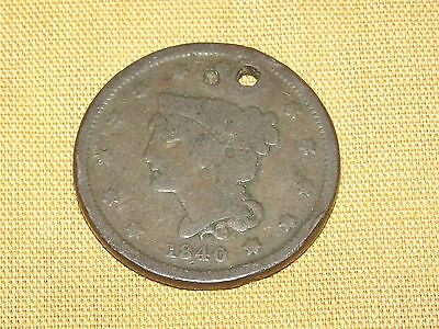 Vintage Us Coin 1840 Large Cent Penny