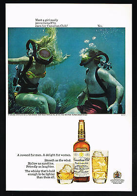 1967 Scuba Diving Woman Proving Herself Canadian Club Whiskey Vintage Print Ad