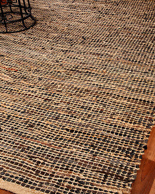 Cosmo Contemporary Jute Leather Rug Hand Loomed by Artisan Rug Makers 8'x10'
