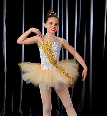 Silver & Gold Dance Costume Ballet Tutu Christmas Dress Girls Adult CXS-2XL