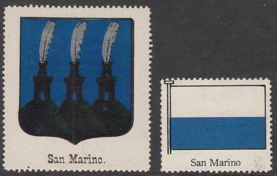 San Marino Scott labels for Album page Header Coat of Arms & Flag