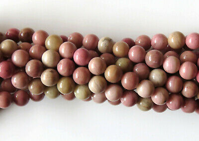 50pcs 8mm Round Natural Gemstone Beads - Rhodonite