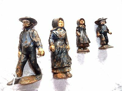 Lot Of 4 Figurines Cast Iron Amish Family Father Mother Son Daughter