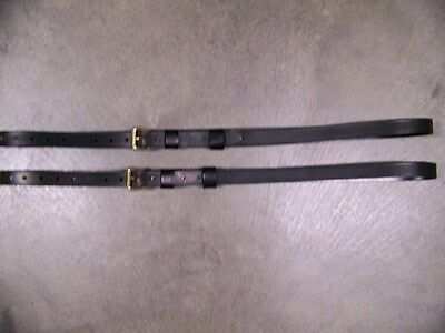 LEATHER LUGGAGE STRAPS for LUGGAGE RACK/CARRIER~(2) SET~BLACK~SOLID BRASS BUCKLE